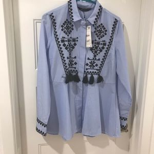 NWT ZARA Embroidered Shirt